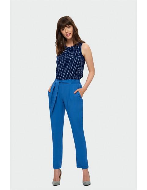 Spodnie tencelowe z paskiem- niebieskie