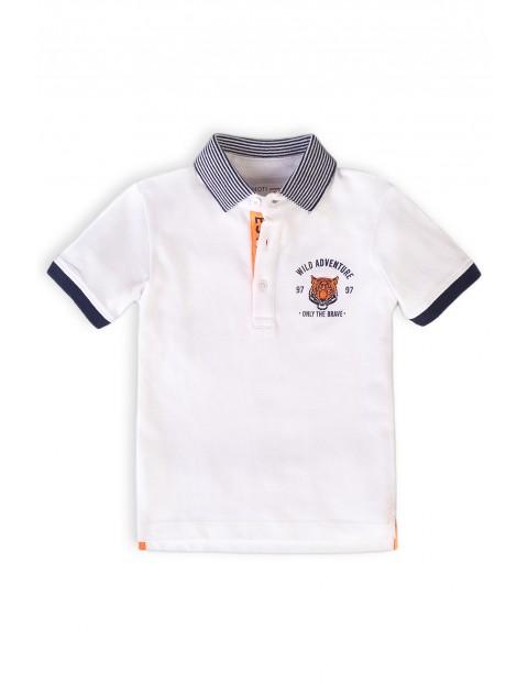 T-shirt chłopięcy bawełniany z kołnierzykiem