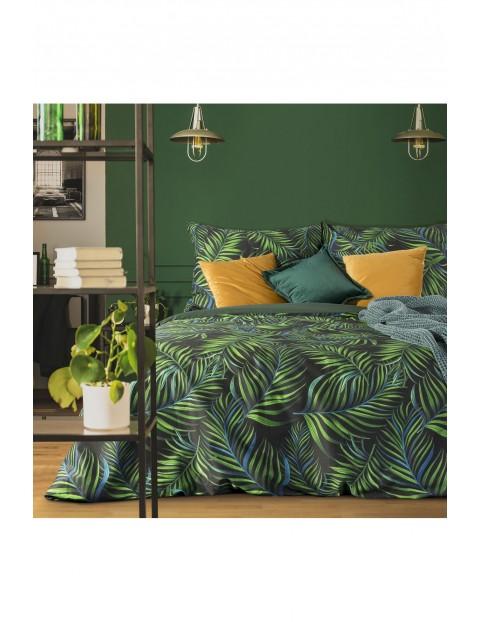 Pościel w nadrukiem w liście  - zielona - 220 x 200 cm