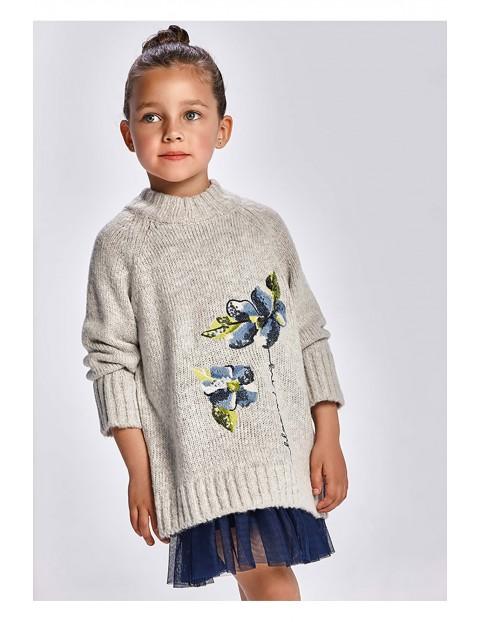 Komplet dziewczęcy - sukienka i szary sweter z ozdobną aplikacją
