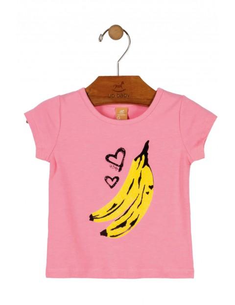 T-Shirt dziewczęcy różowy z bananami