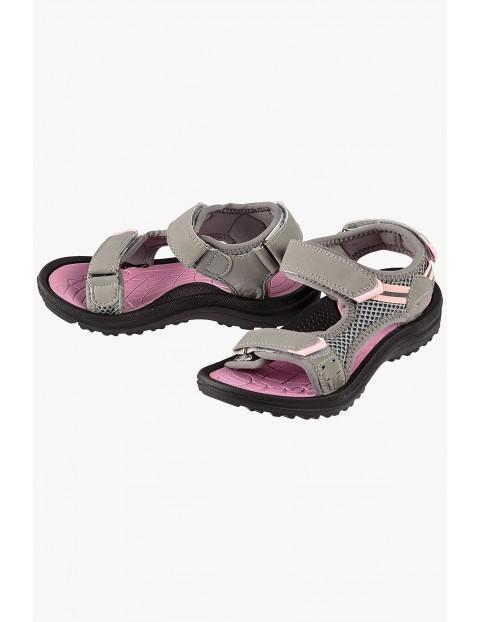 Sandały dziewczęce beżowo-różowe na rzep