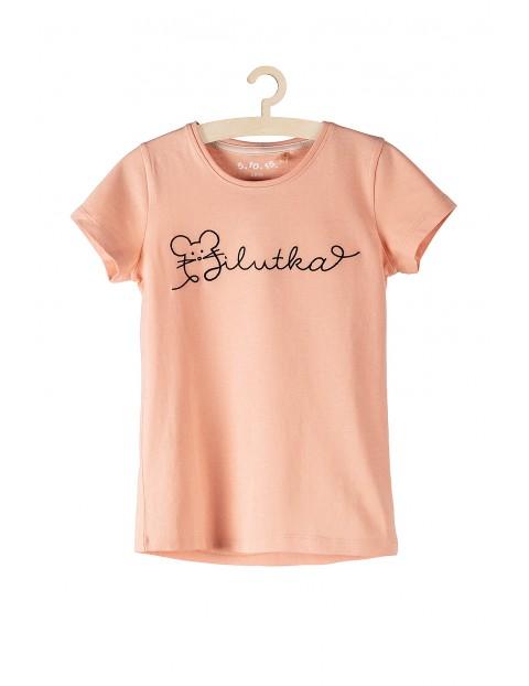 T-shirt bawełniany dla dziewczynki- różowy z napisem Milutka
