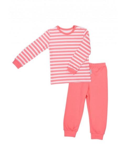 Piżama dziewczęca w koralowe paski bluzka i spodnie