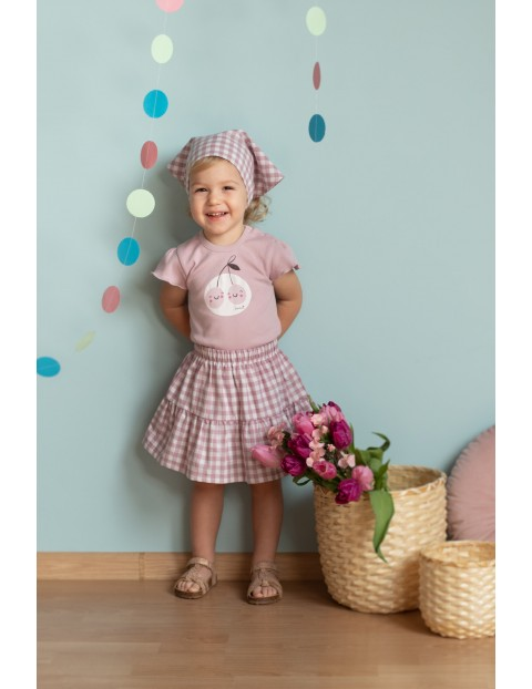Spódniczka dziewczęca z tkaniny bawełnianej w różowo-białą kratkę