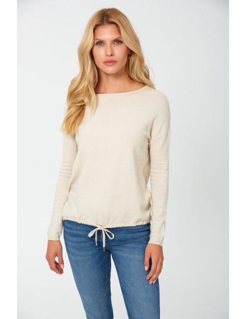 Sweter damski - beżowy w prążki