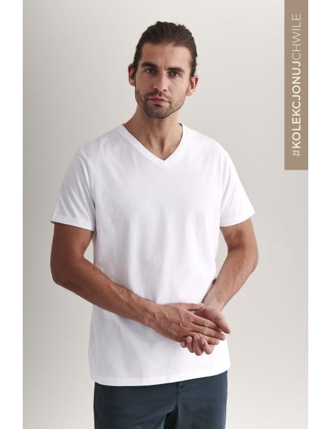 Bawełniany t-shirt męski - biały