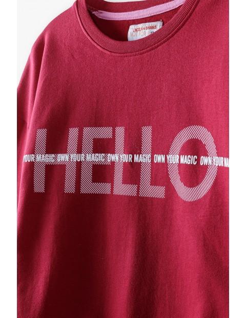 Czerwona bluza dziewczęca z napisem Hello
