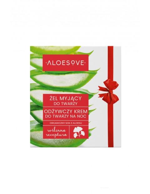 Zestaw Aloesove do twarzy- Odżywczy krem do twarzy na noc, 50 ml i żel myjący do twarzy, 150 ml