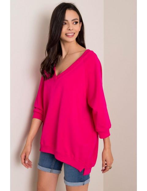 RUE PARIS Bluza damska oversize - różowa
