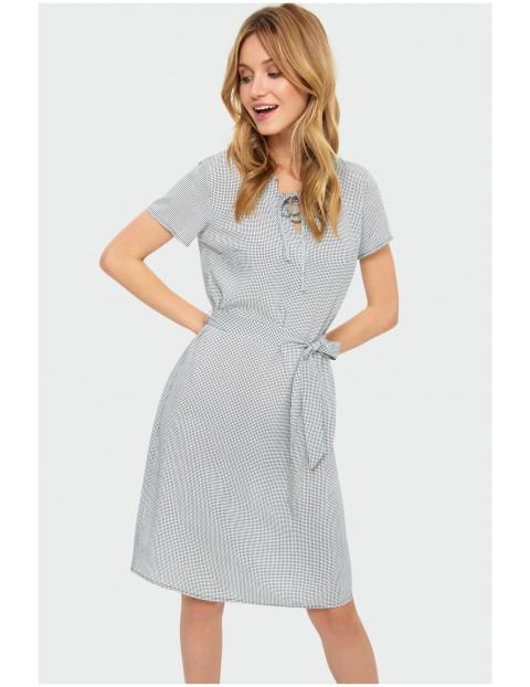 Sukienka damska w drobną kratkę