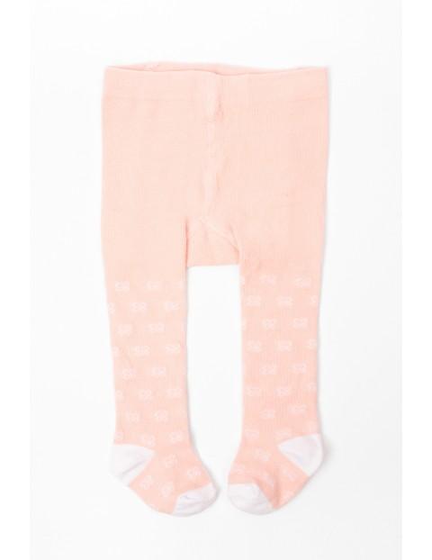 Rajstopy niemowlęce różowe ze wzorkiem