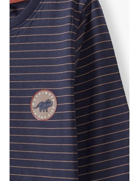 Bluzka w paski z długim rękawem - ozdobna naszywka dino