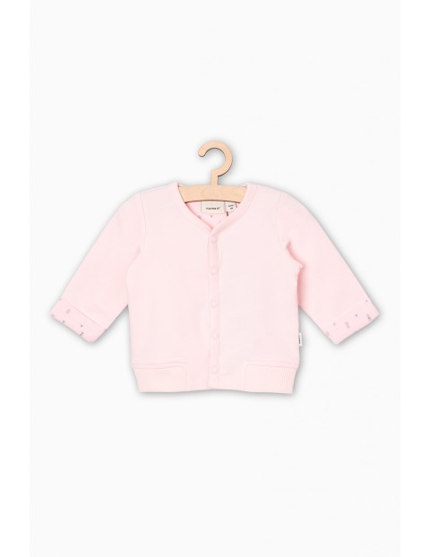 Różowy dzianinowy kaftanik dla niemowlaka