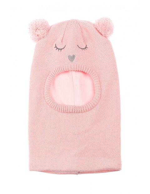 Czapka zimowa- kominiarka dla dziewczynki różowa