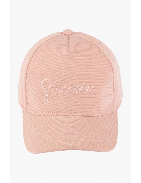 """Czapka z daszkiem z napisem """"Summer"""" - różowa"""
