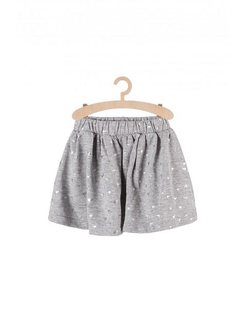 Spódnica dziewczęca dzianinowa- szara w srebrne nadruki