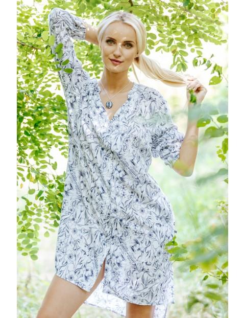 Bluzko-sukienka z przewiewnej tkaniny- biała w kwiaty