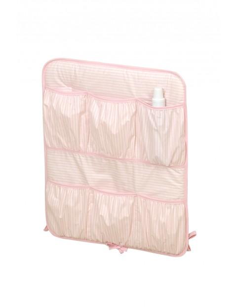 Przybornik na łóżeczko Jeżyk- różowy w białe paski