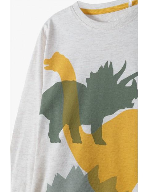 Bluzka chłopięca z długim rękawem w kolorze ecru- Dinozaury