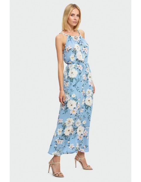 Długa sukienka wiązana na szyi- niebieska w kwiaty