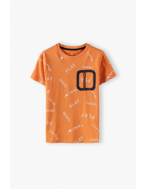 Bawełniany t-shirt chłopięcy z ozdobną kieszonką Play