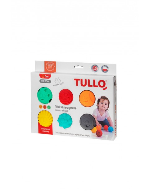 Piłki sensoryczne kolorowe buźki 6 szt.