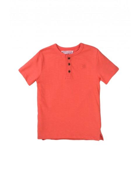 Bawełniany T-shirt niemowlęcy brzoskwiniowy