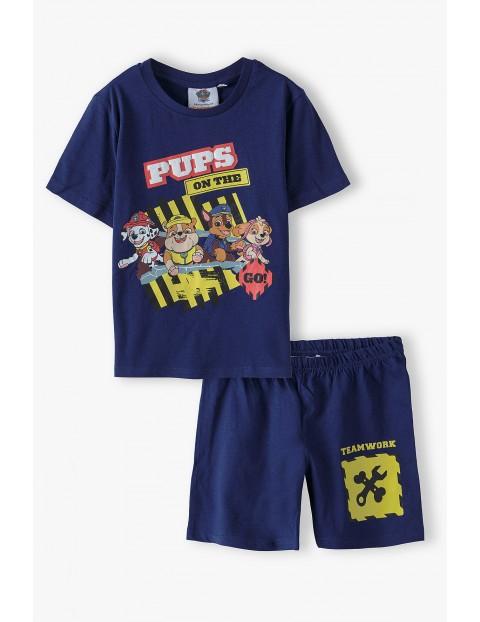 Piżama chłopięca z krótkim rękawem- Psi Patrol granatowa