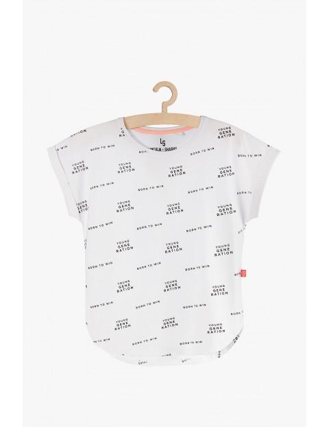 T-shirt dziewczęcy biały z czarnymi napisami