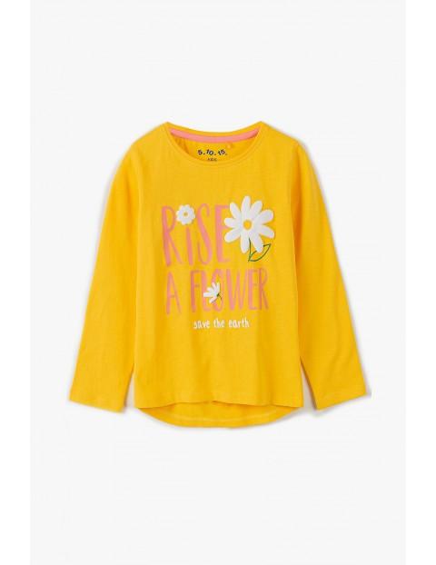 Bawełniana buzka dziewczęca na długi rękaw z napisem Rise a Flower - zółta
