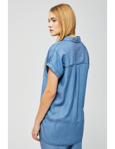 Koszula damska oversize z kołnierzykiem niebieska