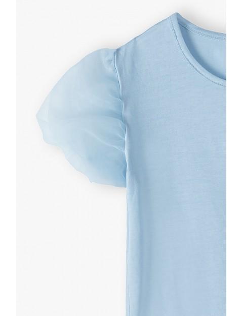 T- shirt dziewczęcy z bufiastymi tiulowymi rękawami - niebieska