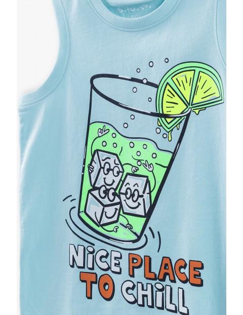 T-shirt chłopięcy w kolorze błękitnym z nadrukiem