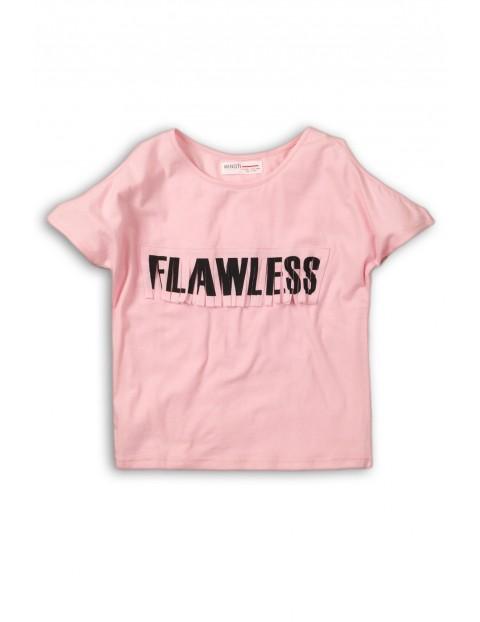 T-shirt dziewczęcy różowy z wycięciami na rękawie