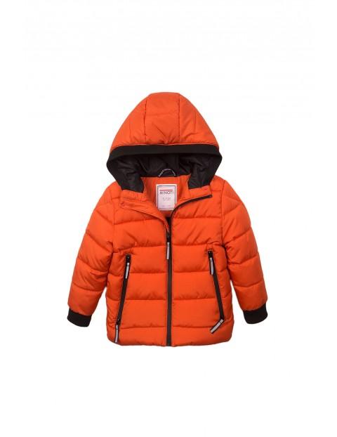 Kurtka zimowa dla chłopca pomarańczowa z odblaskami