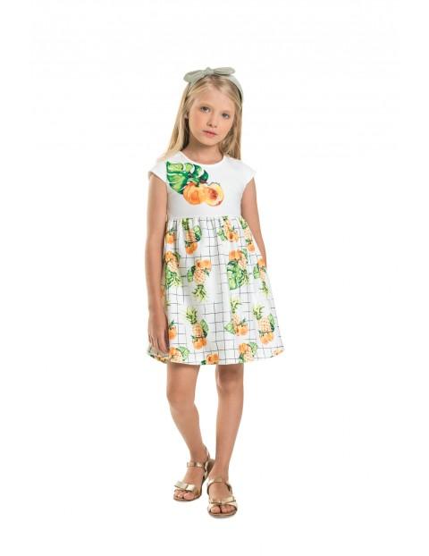 Luźna sukienka dziewczęca w owocowe wzory