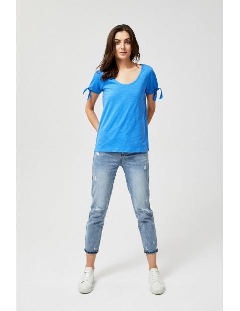 T-shirt damski z wiązaniem przy rękawach- niebieski