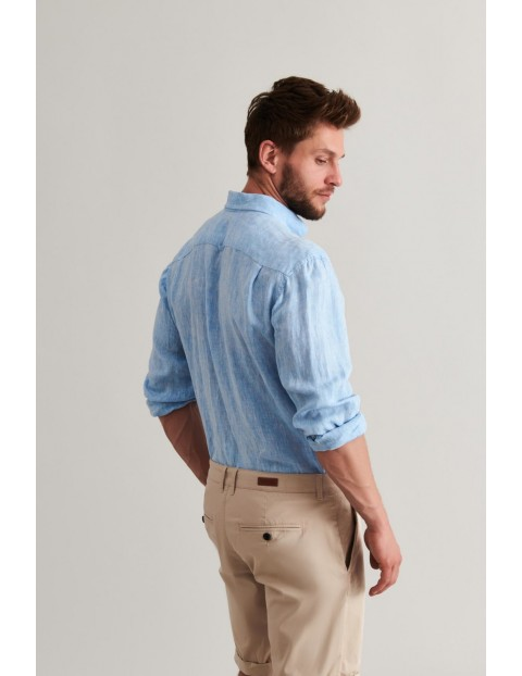 Lniana koszula męska - niebieska Tatuum