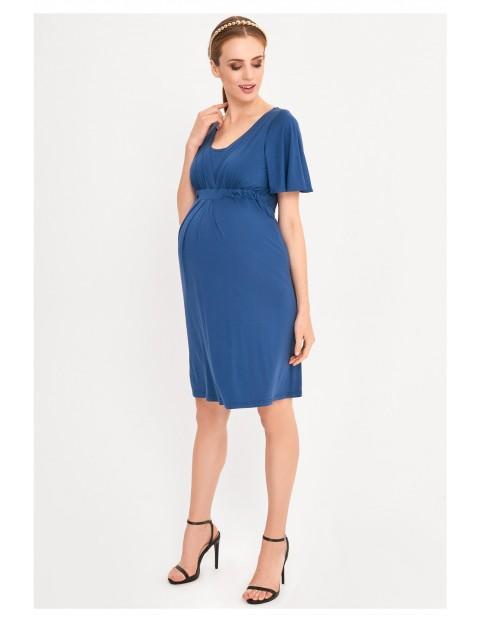 Sukienka ciążowa i dla karmiącej mamy- niebieska