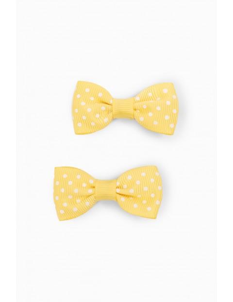 Spinki do włosów żółte kokardki - 2 sztuk