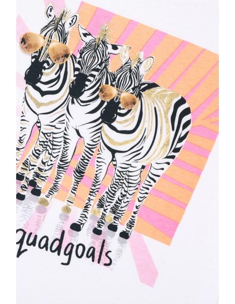 T-shirt dziewczęcy biały z zebrami