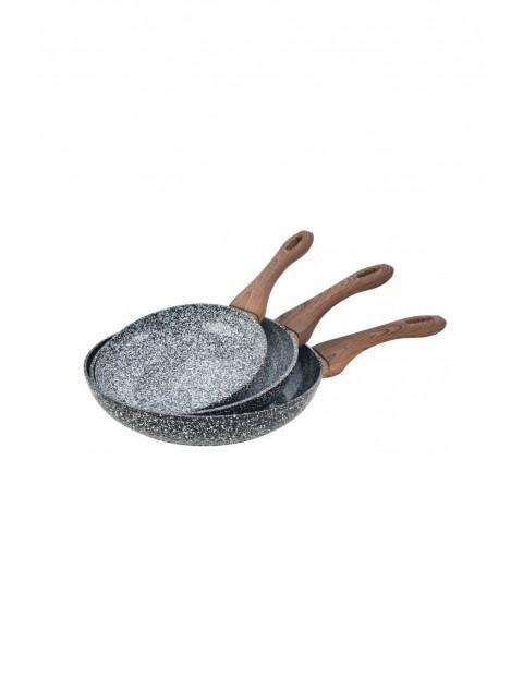 Kinghoff3 patelnie granitowe granit wood