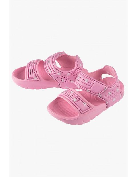 Sandały dla dziewczynki - różowe w białe gwiazdki