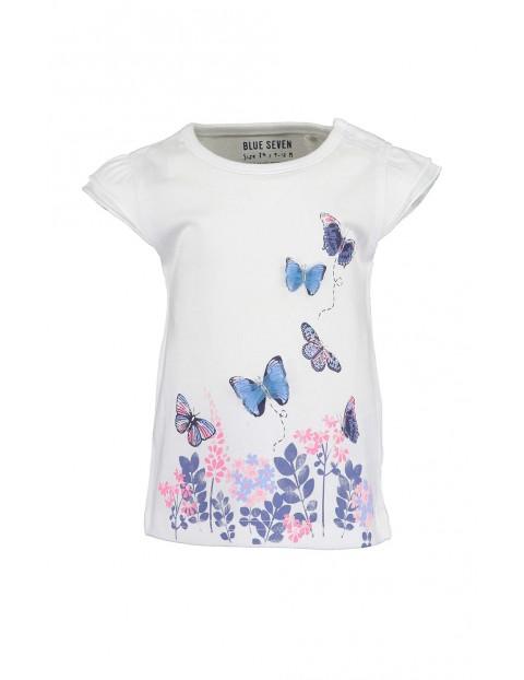 Koszulka dziewczęca biała w motylki