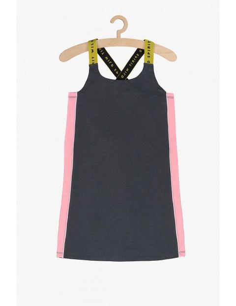Sukienka dziewczęca sportowa- szara z różowymi wstawkami