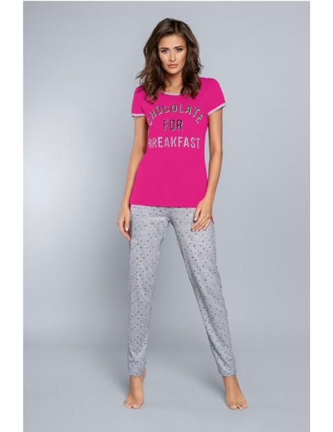 Dwuczęściowa piżama damska - napisem Chocolate For Breakfast