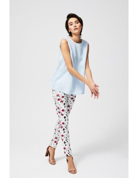 Bluzka damska lniana bez rękawów z wiązaniem na plecach niebieska