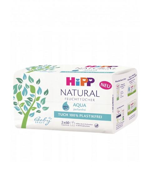Chusteczki pielęgnacyjne HiPP Babysanft Natural Aqua ULTRA-SENSITIVE, od 1. dnia życia, 2x60 szt.