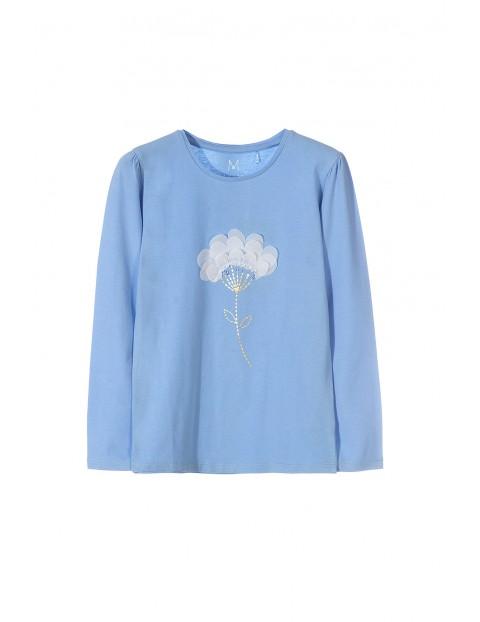 Bluzka dziewczęca niebieska z kwiatkiem 3D
